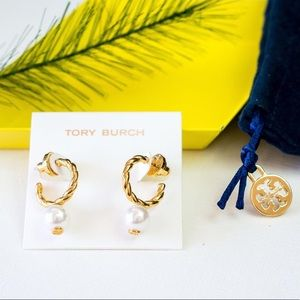 Tory Burch Rope Pearl Gold Earrings New w/ Pouch